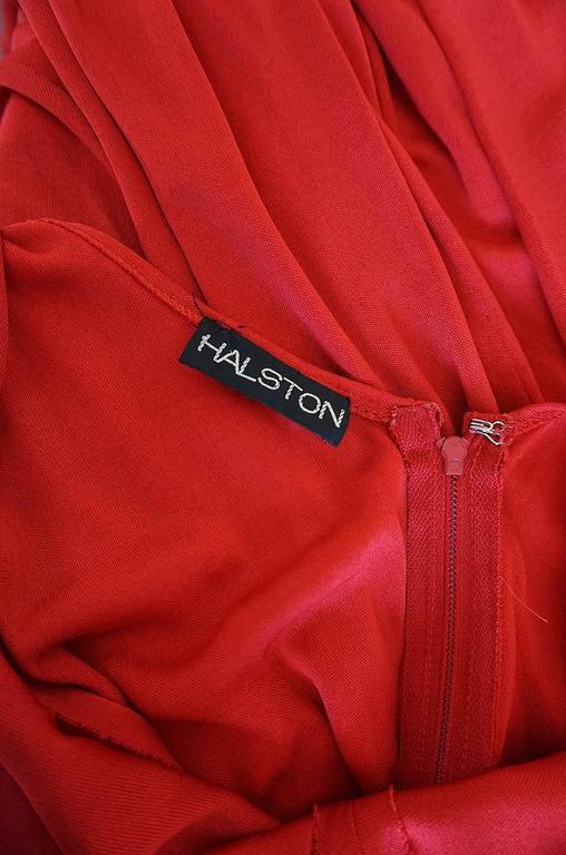 c1971 Halston Red Silk Knit Jersey Bias Cut Tank Dress 9
