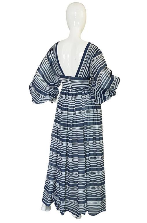 c1972 Geoffrey Beene Plunging Striped Summer Dress 2