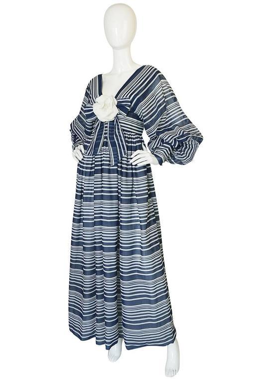 c1972 Geoffrey Beene Plunging Striped Summer Dress 3