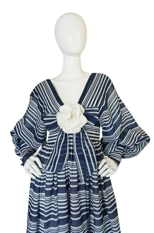 Women's c1972 Geoffrey Beene Plunging Striped Summer Dress For Sale
