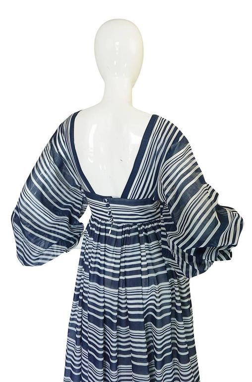 c1972 Geoffrey Beene Plunging Striped Summer Dress For Sale 1
