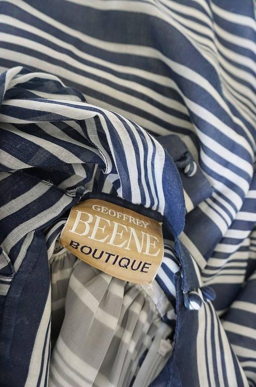 c1972 Geoffrey Beene Plunging Striped Summer Dress 9