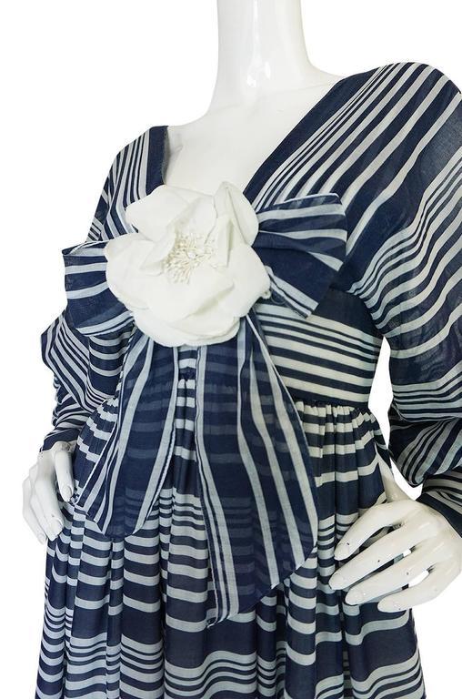 c1972 Geoffrey Beene Plunging Striped Summer Dress For Sale 2