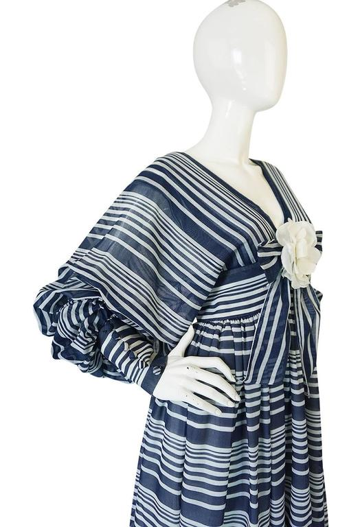 c1972 Geoffrey Beene Plunging Striped Summer Dress 8