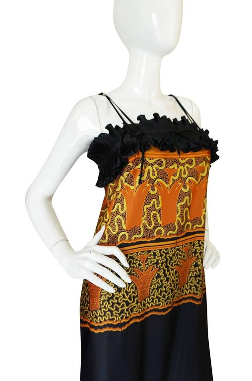 Women's 1970s Zandra Rhodes Print & Black Dramatic Lingerie Dress For Sale