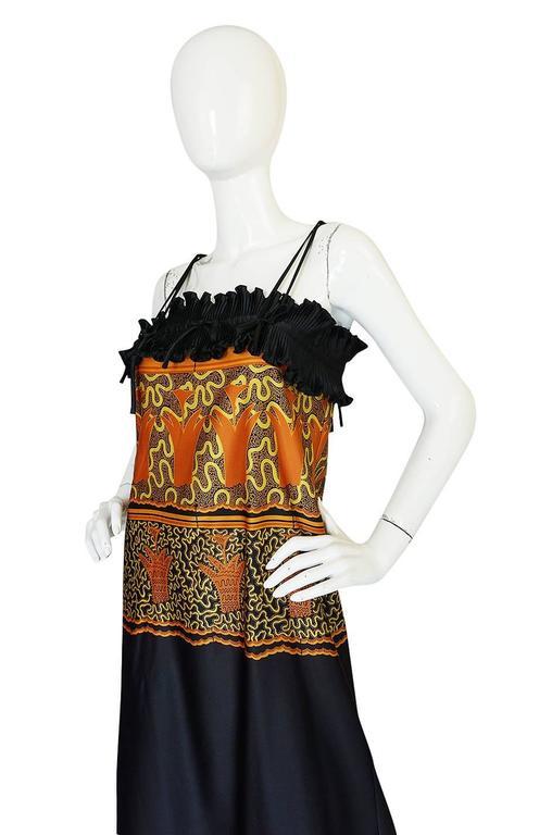 1970s Zandra Rhodes Print & Black Dramatic Lingerie Dress For Sale 1
