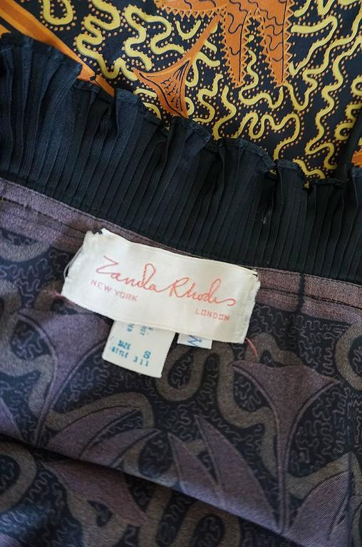 1970s Zandra Rhodes Print & Black Dramatic Lingerie Dress For Sale 4