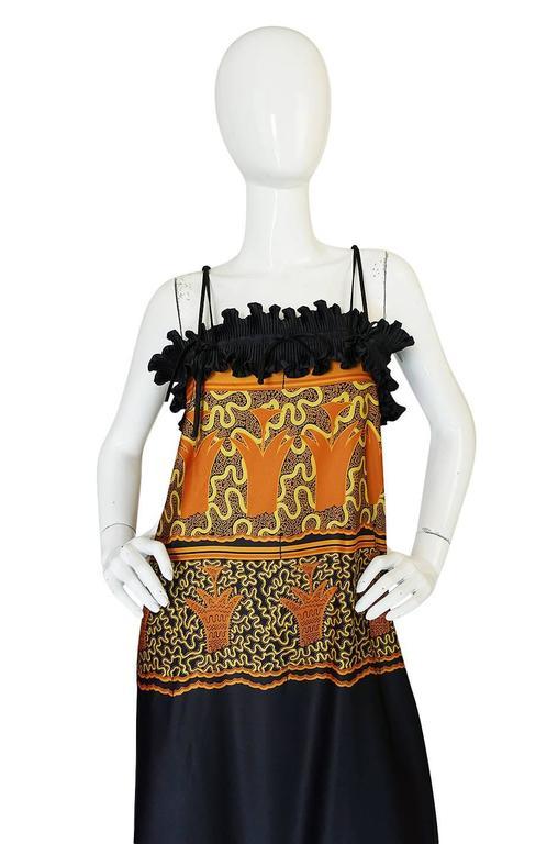1970s Zandra Rhodes Print & Black Dramatic Lingerie Dress For Sale 2