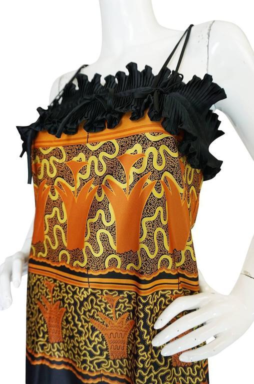 1970s Zandra Rhodes Print & Black Dramatic Lingerie Dress For Sale 3