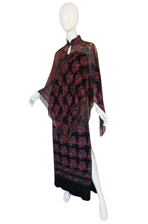 1970s Leonard Silk Jersey Dress & Silk Chiffon Cape Set 5