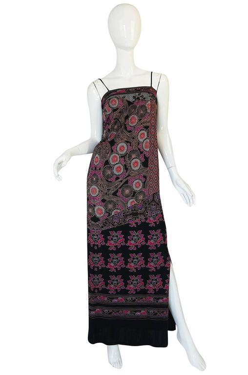 1970s Leonard Silk Jersey Dress & Silk Chiffon Cape Set 2