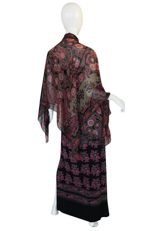 1970s Leonard Silk Jersey Dress & Silk Chiffon Cape Set 3
