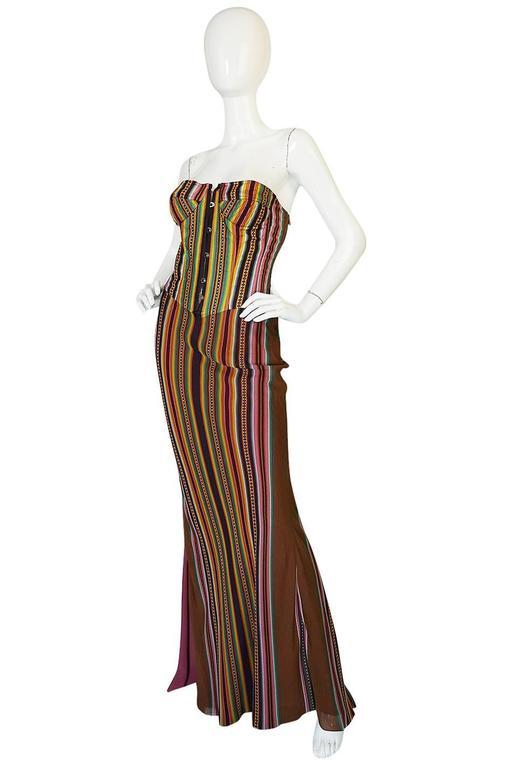 S/S 2002 Galliano for Christian Dior Striped Corset Dress 3