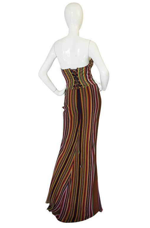 S/S 2002 Galliano for Christian Dior Striped Corset Dress 2