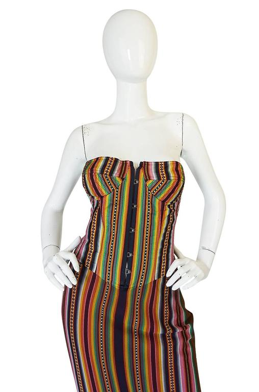S/S 2002 Galliano for Christian Dior Striped Corset Dress 4