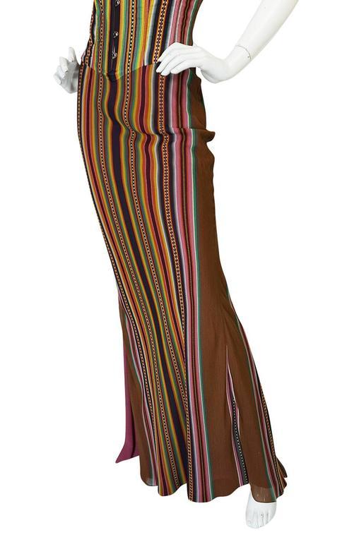 S/S 2002 Galliano for Christian Dior Striped Corset Dress 8