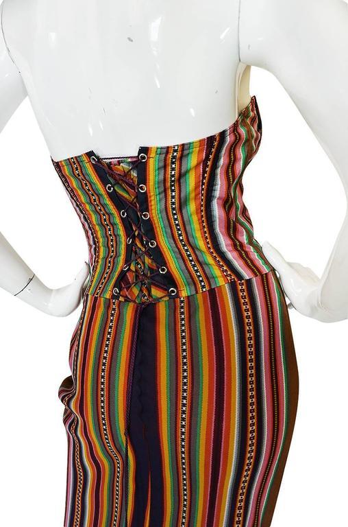 S/S 2002 Galliano for Christian Dior Striped Corset Dress 7