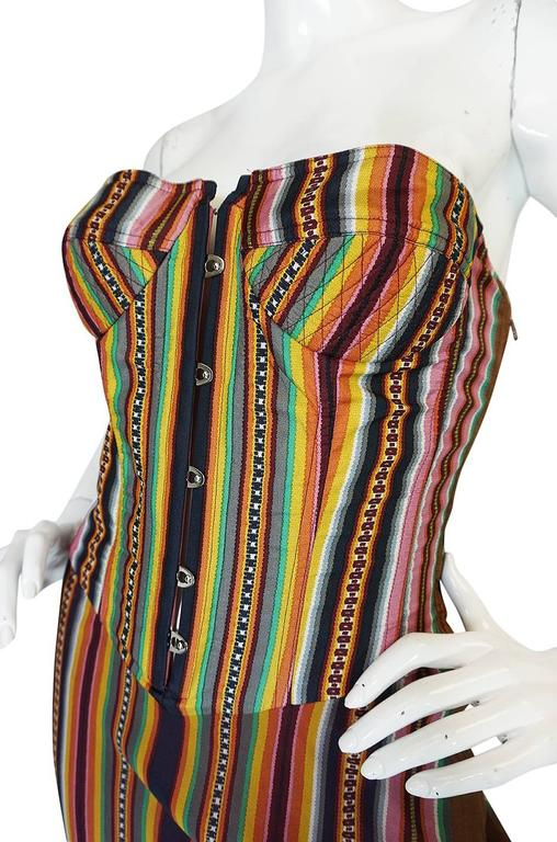 S/S 2002 Galliano for Christian Dior Striped Corset Dress 6