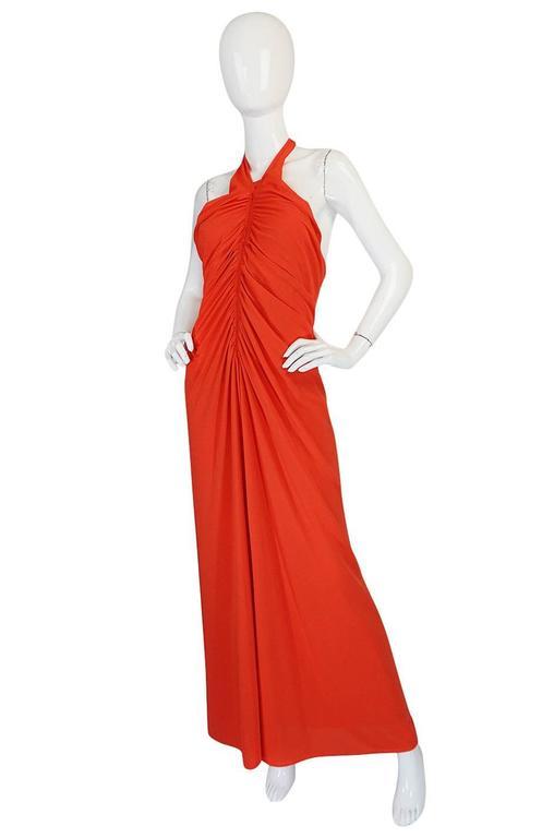Red 1970s Frank Usher Coral Jersey Backless Halter Dress For Sale