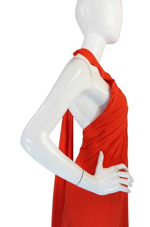 1970s Frank Usher Coral Jersey Backless Halter Dress For Sale 2