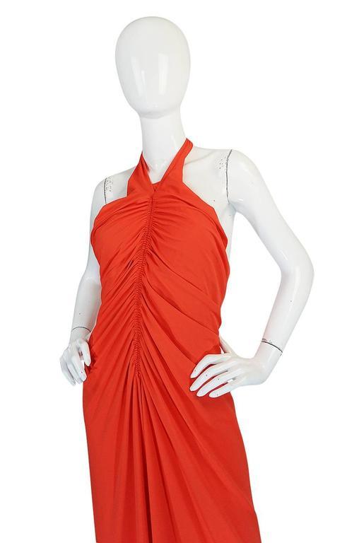 Women's 1970s Frank Usher Coral Jersey Backless Halter Dress For Sale