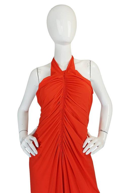 1970s Frank Usher Coral Jersey Backless Halter Dress For Sale 1