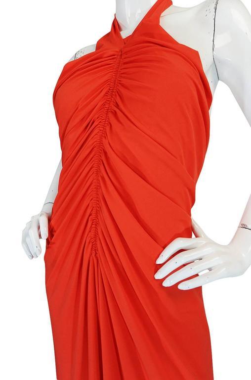 1970s Frank Usher Coral Jersey Backless Halter Dress For Sale 3