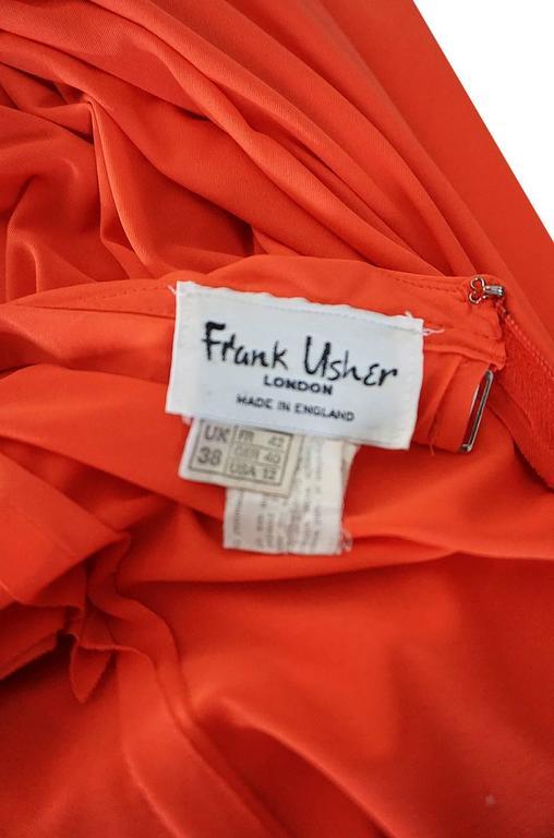 1970s Frank Usher Coral Jersey Backless Halter Dress For Sale 4