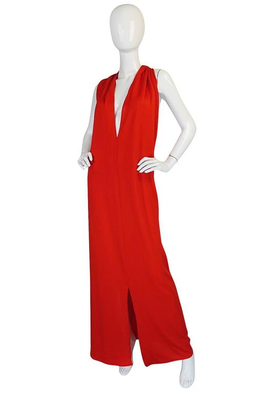 Women's Convertible Plunge and Tie Red Jersey Maxi Dress, 1970s  For Sale