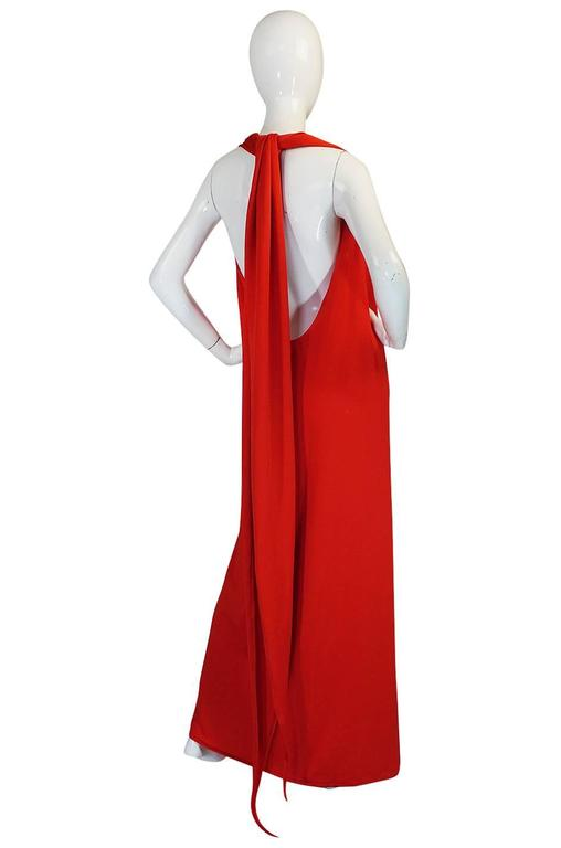 Convertible Plunge and Tie Red Jersey Maxi Dress, 1970s  For Sale 1