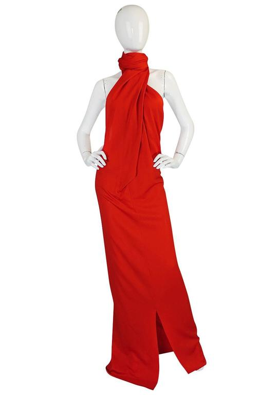 Convertible Plunge and Tie Red Jersey Maxi Dress, 1970s  For Sale 4