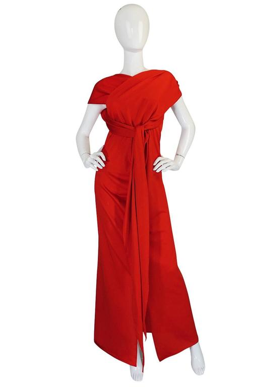 Convertible Plunge and Tie Red Jersey Maxi Dress, 1970s  For Sale 2
