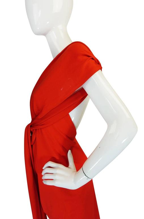 1970s Convertible Plunge & Tie Red Jersey Maxi Dress 10