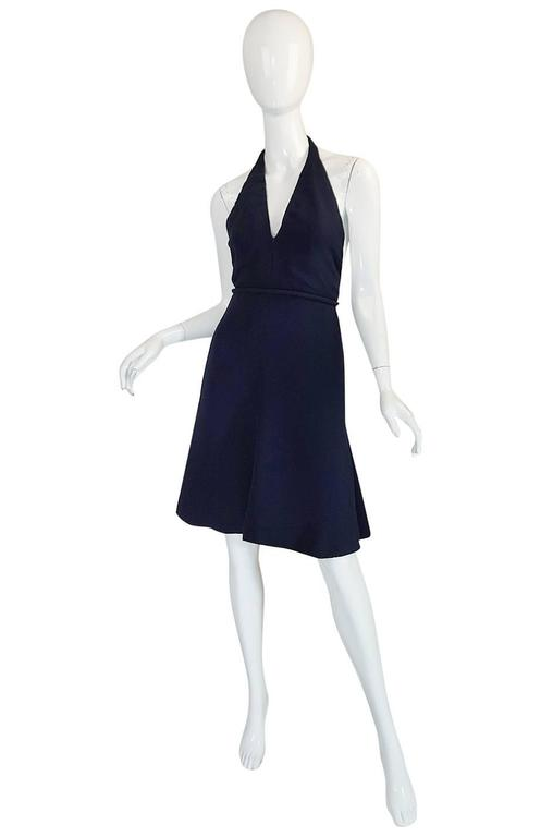 Black 1960s Jean Patou Numbered Haute Couture Navy Backless Halter Dress For Sale