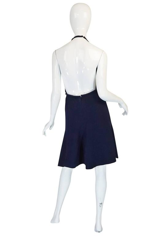 1960s Jean Patou Numbered Haute Couture Navy Backless Halter Dress 2