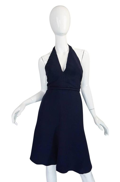 1960s Jean Patou Numbered Haute Couture Navy Backless Halter Dress In Excellent Condition For Sale In Toronto, ON