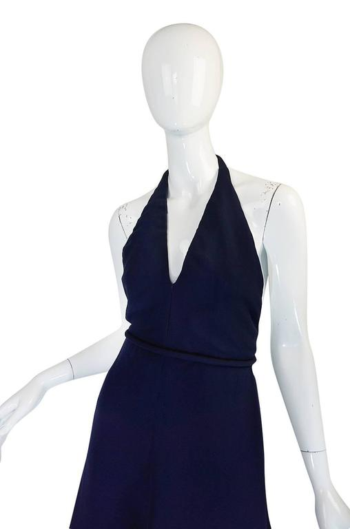 1960s Jean Patou Numbered Haute Couture Navy Backless Halter Dress 5