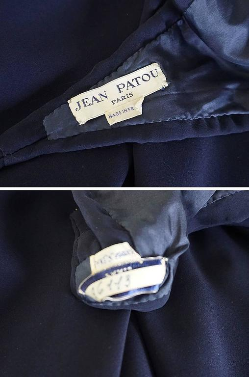 1960s Jean Patou Numbered Haute Couture Navy Backless Halter Dress 10