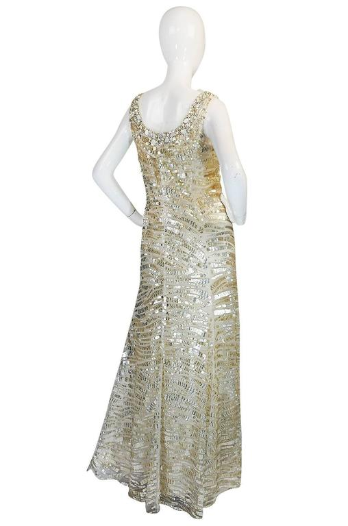 Oscar de la Renta Gold Sequin, Net and Silk Dress 2