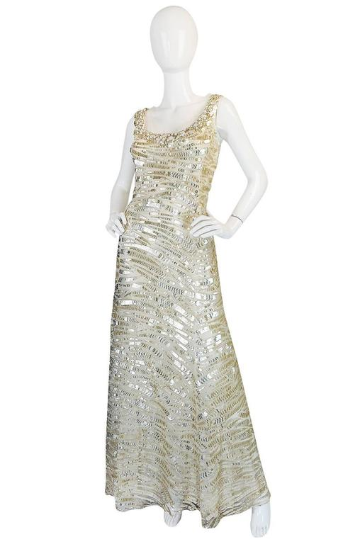 Oscar de la Renta Gold Sequin, Net and Silk Dress 3