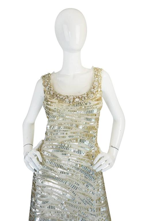 Oscar de la Renta Gold Sequin, Net and Silk Dress 4