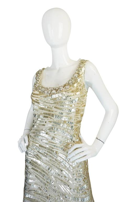 Oscar de la Renta Gold Sequin, Net and Silk Dress 5