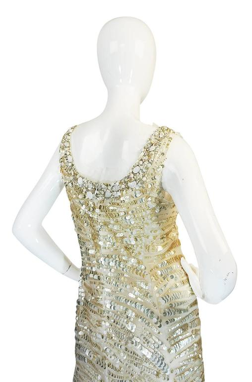 Oscar de la Renta Gold Sequin, Net and Silk Dress 6