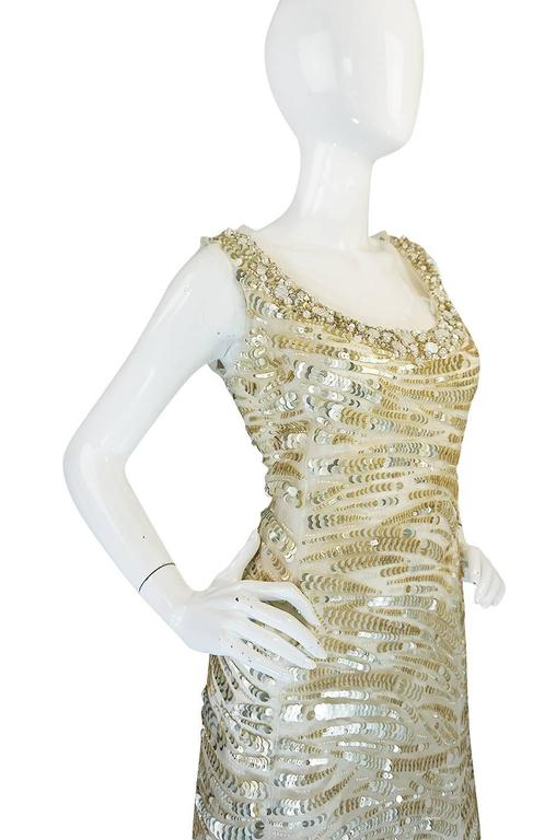 Oscar de la Renta Gold Sequin, Net and Silk Dress 7