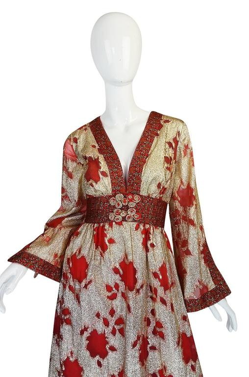 1970s Unlabelled Bill Blass Gold Lame And Red Silk
