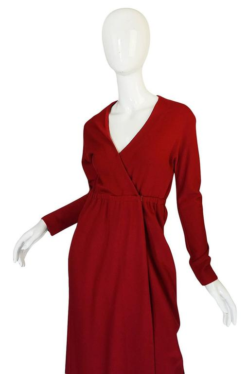 1970s Halston Deep Red Wool Jersey Wrap Dress For Sale 1