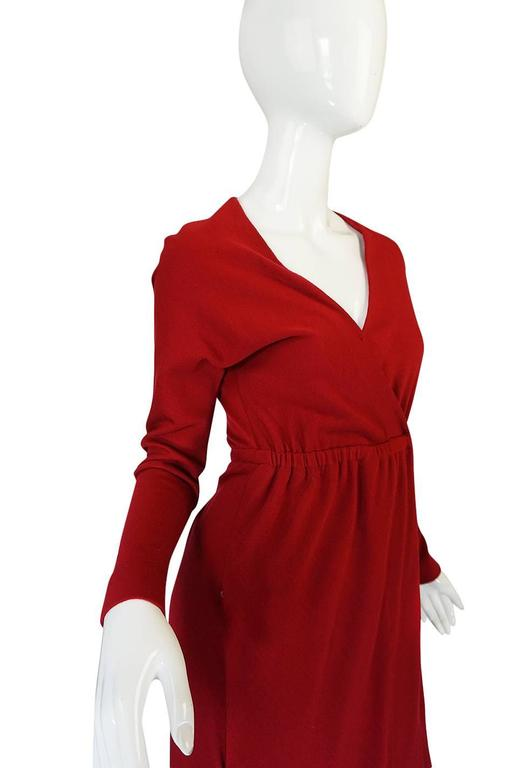 1970s Halston Deep Red Wool Jersey Wrap Dress For Sale 2