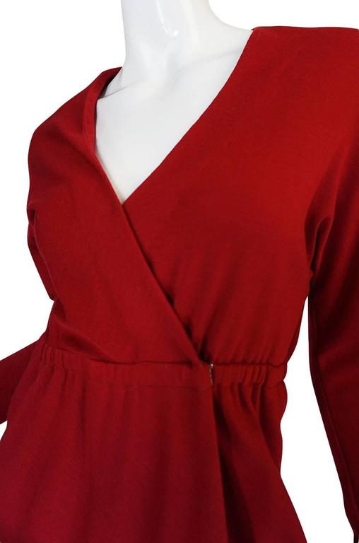 1970s Halston Deep Red Wool Jersey Wrap Dress For Sale 3
