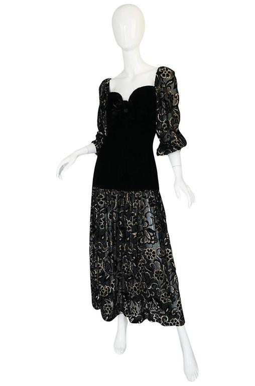 Early 1980s Yves Saint Laurent Gold & Black Velvet Dress In Excellent Condition For Sale In Toronto, ON