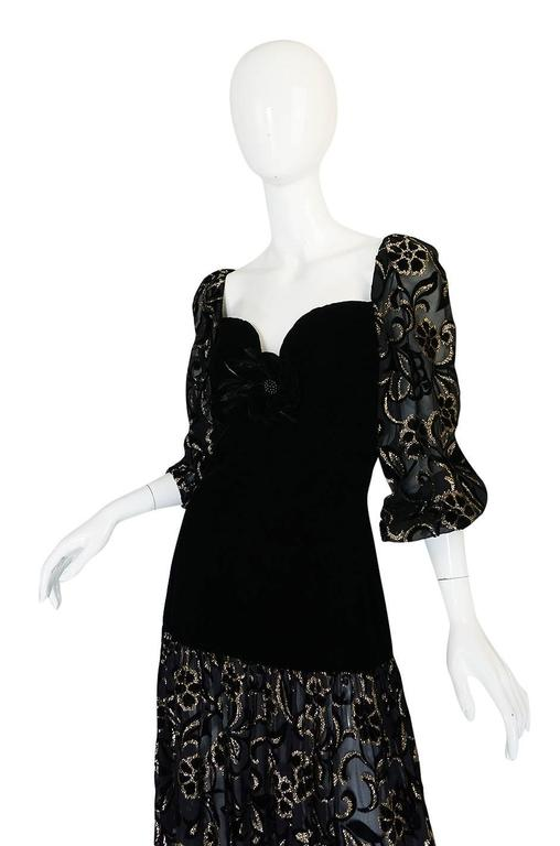 Early 1980s Yves Saint Laurent Gold & Black Velvet Dress For Sale 1